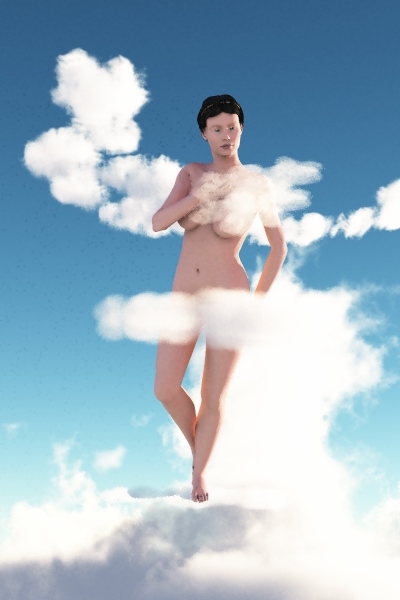Naked Victoria wearing nothing but spectral clouds