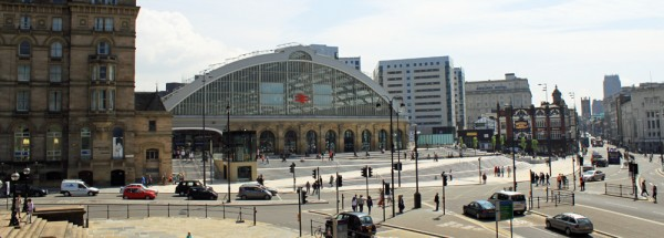 Wide angle photograph of Lime Street Liverpool