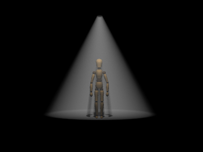 single point spotlight in front of figure