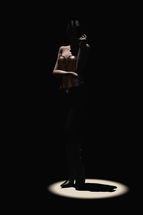 Figure lit with single point spotlight overhead slightly to the left