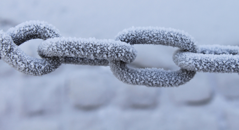Frost on Chain Fence at the Albert Dock, Liverpool