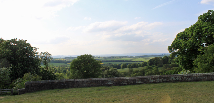 View across Derbyshire countryside from Hardwick Hall