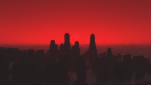 Sunrise City - Cityscape shrouded in low cloud at sunrise - modelled with CityEngine rendered with Vue 9.5 Infinite
