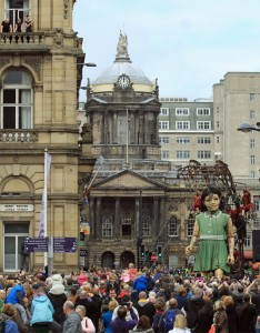 Sea Odyssey Little Girl Giant in front of Liverpool Town Hall