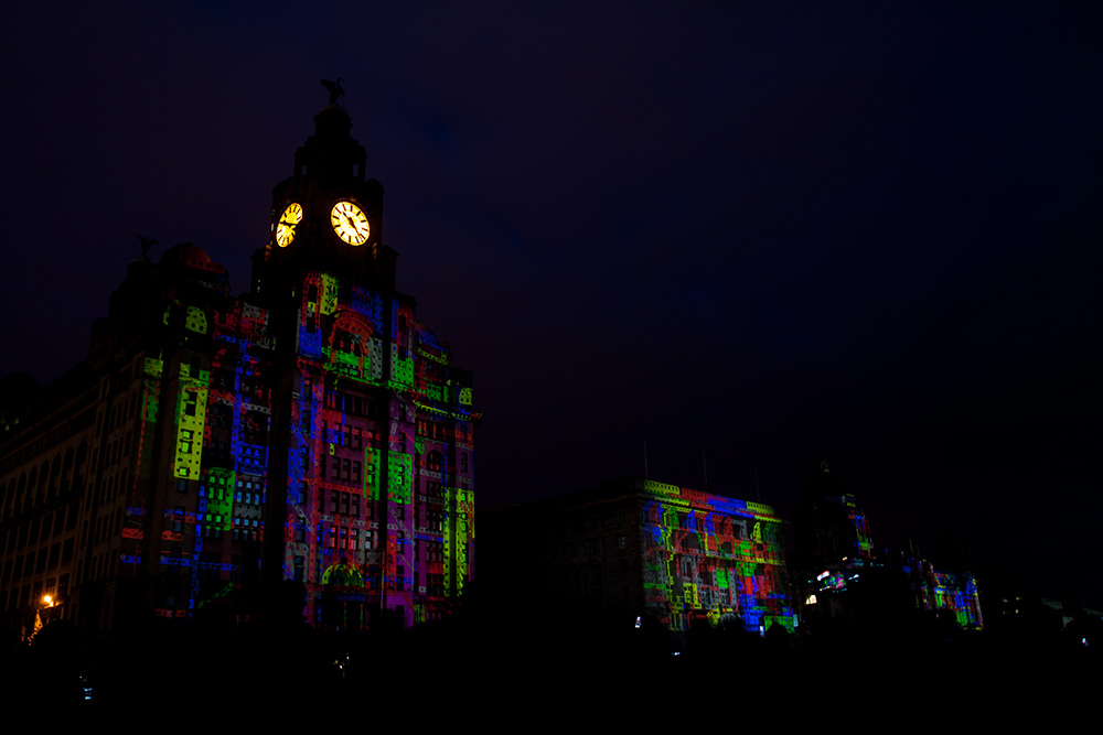 Liverpool Three Graces Meccano Projection - May 24th 2015