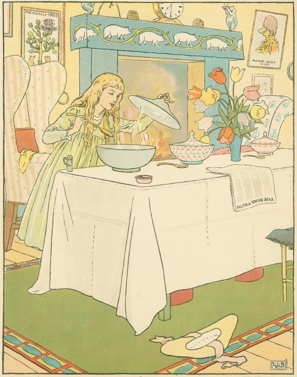 Goldilocks tastes the porridge by Leonard Leslie