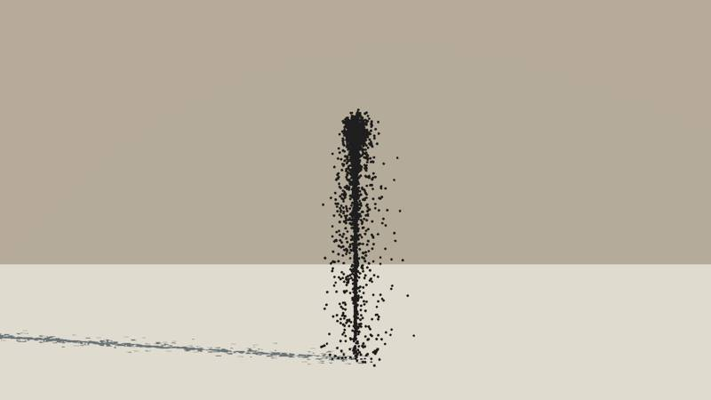 A Vue Particle System emitting a stream of black spheres with a turbulence setting of 0.4