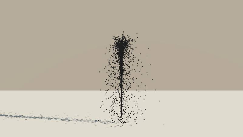 A Vue Particle System emitting a stream of black spheres with a turbulence setting of 0.8