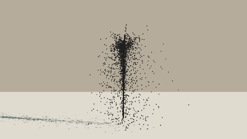 A Vue Particle System emitting a stream of black spheres with a turbulence setting of 1.2