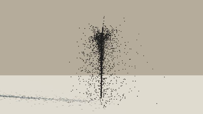 A Vue Particle System emitting a stream of black spheres with a turbulence setting of 1.4