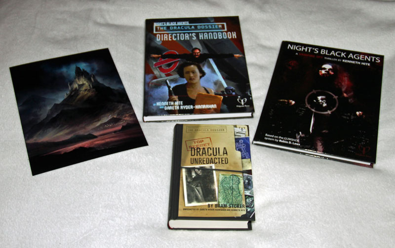 The Dracula Dossier Directors Handbook, Night's Black Agents RPG, Dracula Unredacted and Dracula's Castle Illustraion