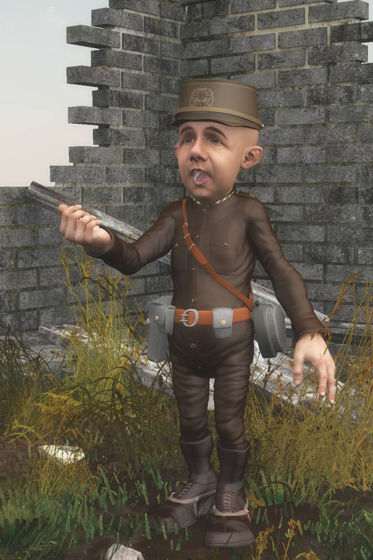 Panzerfauste Gnome Singer standing in a ruin