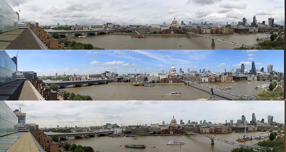 Three Panoramas from Tate Modern 2014, 2015 and 2016