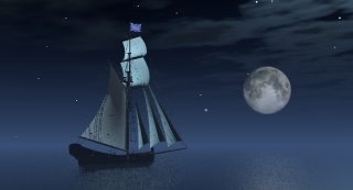 A picture of a sailing ship at sea beneath a cloudy sky with a large moon