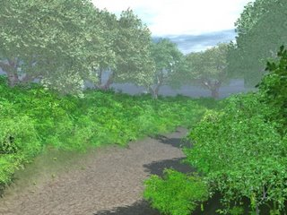 A picture of a wooded lane rendered in Vue