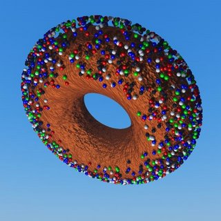 A render of a Vue 5 Infinite Torus Coated in Spheres using ecospray python script